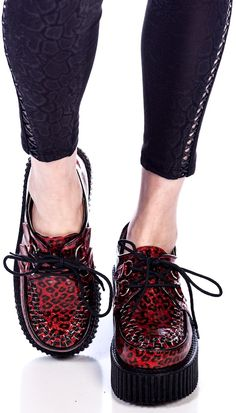 Demonia Cheetah Glitter Creeper shoes