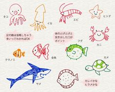 Meerestiere, Fische, Hai, Krebs, Seestern