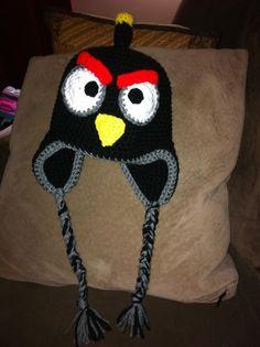 DaisyMae Crochet: Black Angry Bird -   Angry Bird Crocheted hat!  I <3 the bomb bird!  hee heee