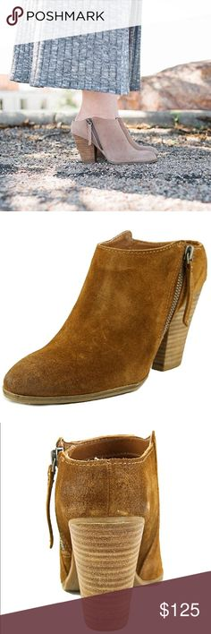 "Leather Brown Mule Clog Bootie Round Toe Leather Brown Bootie from Dolce Vita X Anthropologie. Brown Leather Shaft measures approximately 1.5"" from arch Material: Leather Measurements: Circumference measures 10"" and 3.5"" heel Width: B(M) Anthropologie Shoes Ankle Boots & Booties"