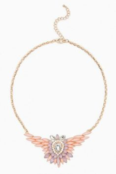 Liberty Wing Necklace in Pink. Resin stones gather to form an elegant yet modern bib necklace. #pink #promdress #jewelry #blush #gold