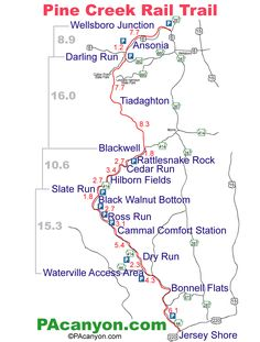 Images Of Rail Trails Pine Creek Rail Trail Map Is Provided - Map of us rail trails
