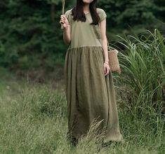 Women long Linen dress, maxi dress, Summer minimalist dress, with pockets dress, Prom dress