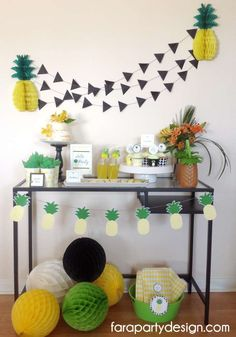 Pineapple Summer party dessert table! See more party ideas at CatchMyParty.com!