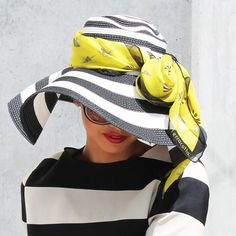 Terracotta's Silk Scarf Bijou Lemonade styled with side-brimmed hat. #summerscarf #popofcolor #monochrome #blackandwhite #stripes #horizontalstripes #tutorials #scarftutorials