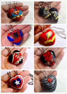 Superheros polymer clay necklace inc THE FLASH, BATMAN, SUPERMAN, CAPTAIN AMERICA, SPIDERMAN