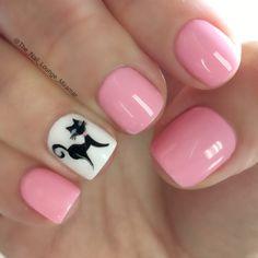 Cute pink kitty nail art design