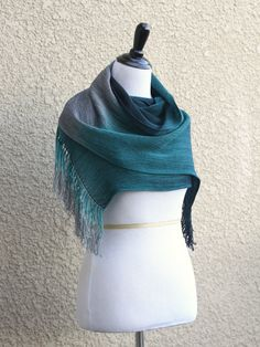 Hand woven scarf wrap gradient dark teal chocolate grey long scarf with fringe unisex scarf