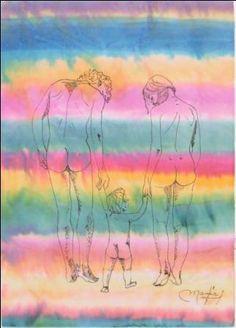 """""""Familia"""" 34 x 24 cms Acuarela y pluma sobre papel arroz 2012"""