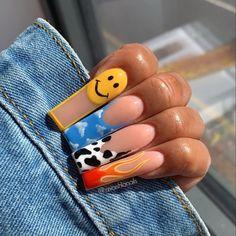 Short Square Acrylic Nails, French Acrylic Nails, Best Acrylic Nails, Cute Toe Nails, Pretty Nails, Book Nail Art, Hippie Nails, Nail Art Designs Images, Popular Nail Art