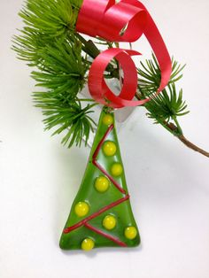 Christmas Tree Ornament Fused Glass by Mtbaldyglassworks on Etsy, $12.00
