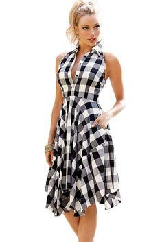 Black White Gray Checks Flared Shirtdress novashe.com