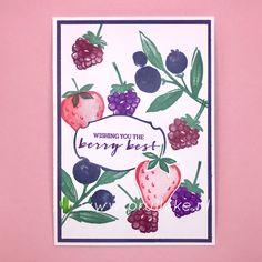 Hier is mijn laatste inspiratiekaart van 2020 met de kleurencombinatie van december: Poppy Parade, Merry Merlot, Gorgeous Grape, Misty Moonlight en Just Jade. Ik gebruikte voor deze kaart de Sale-a-bration stempelset Berry Blessings en combineerde hem met de nieuwe set Sweet Strawberry die uit komt op 5 januari 2021. #prulleke #prullekekleurencombinatie #Berryblessingsstampset #kleurencombinatie #echtepostiszoveelleuker #stampinupdemo #prullekecreaties #sweetstrawberrystampset Stampin Up, Berries, Stamping Up, Bury, Blackberry, Strawberries