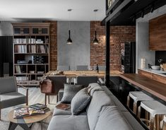20 Home Design Photos Brick Walls and Elegant Structures Creates an Amazing Interior Futuristisches Design, Loft Design, Brick Design, Design Studio, Design Ideas, Loft Kitchen, Kitchen Interior, Brick Interior, Modern Kitchen Design