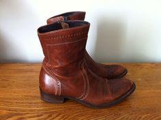 Beautiful Vintage Brown Boots. Ankle Boots. . Made by bohoquilts, $70.00