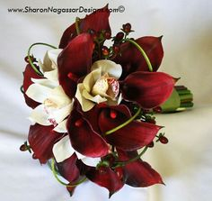Dark red, white, and green bouquet
