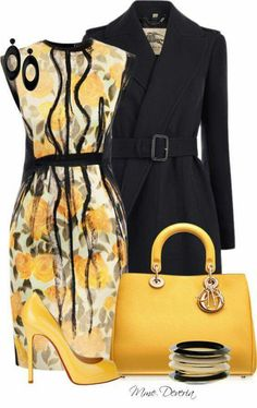 Black and yellow work outfit Classy Outfits, Chic Outfits, Fashion Outfits, Womens Fashion, Fashion Trends, Fashion Clothes, Dress Outfits, Work Fashion, Fashion Looks
