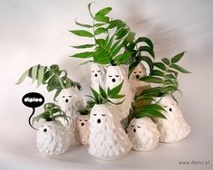 Singing Brownies - Set of 3 (small, medium, large), vases, ceramic sculptures, decorative objects for interiors.