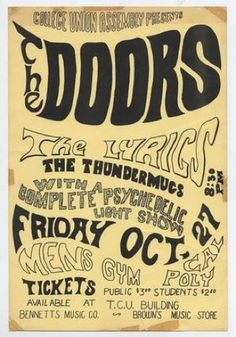 "49 years ago today The Doors played a show for students of Cal Poly:   ""Mattresses and pillows filled bleachers on the night of October 27 while fans grooved to the sights and sounds of The Doors at the Pillow Concert and psychedelic light show."" - Cal Poly Yearbook '67-'68."