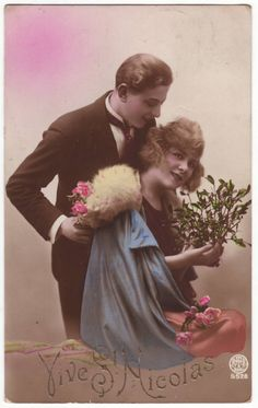 Belgian postcard - Romantic couple - Saint Nicolas - Vintage hand tinted postcard 1920's