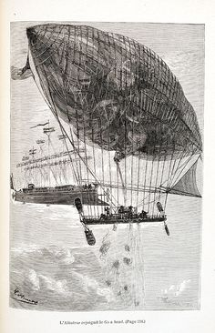 The Albatross rejoins the Go Ahead. Verne uses balloons to resupply the Albatross, his flying machine.,  Image number:SIL28-091-13