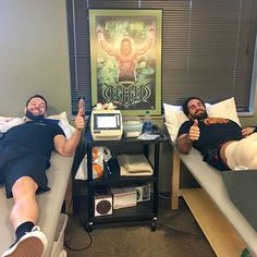 Seth Rollins & Finn Balor in physical therapy together on Valentine's Day. It's maybe not the worst date to get. But be careful. Hunter is watching you...