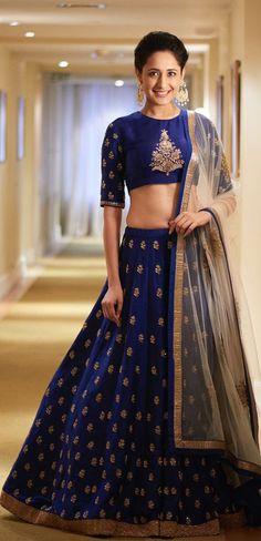 Pinterest: @Littlehub || Dreamy Lehenga's❤•。*゚|| Pragya jaswal in navy blue lehengha
