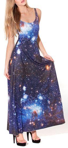 Galaxy Print Maxi Dress <3