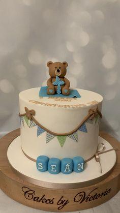 Christening Cake Designs, Baby Boy Christening Cake, Baby First Birthday Cake, Baby Boy Cakes, Birthday Kids, Teddy Bear Cakes, Birthday Cake Decorating, Cake Decorating Techniques, Cupcakes