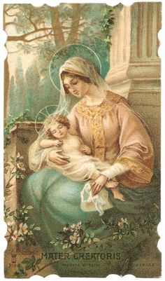 Mother Creator & Baby Jesus Antique Vintage by 12StarsVintage