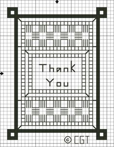 Free Cross Stitch Card Charts - Printable Free Cross Stitch Patterns: Free Thank You Cross Stitch Pattern - Free Printable Cross Stitch Graph