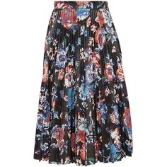 MSGM     Black Floral Faux Leather Pleated Skirt ($820) ❤ liked on Polyvore featuring skirts, floral, pleated skirt, knee length a line skirt, high-waisted skirts, high waisted skirts and floral knee length skirt