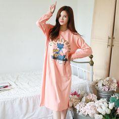 1f3aca2b4d Cartoon Nightgowns Women Long Sleeve Nightgown Loose Homewear Sleepshirt  For Women Cotton Nightwear Womens Nightdress