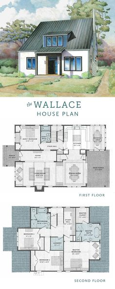 The Wallace House is a is a 4 bedroom contemporary bungalow house plan with an efficient floor plan, breakfast room, and upstairs study hall.
