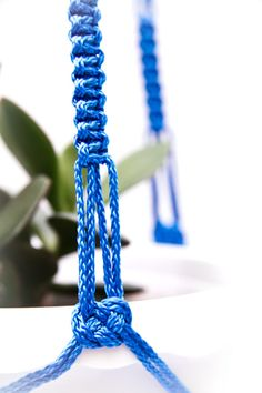 Blue Macrame  Plant  Hanger 28 inches 3mm Hanging Planter via Etsy