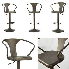 Astra Adjustable Stool in Gunmetal from ! *Industrial-inspired design *Hydraulic seat adjustment for bar or counter height swivel seat *Sturdy round base Swiss Coffee, Adjustable Stool, Industrial Chic, Stools, Counter, Design Inspiration, Base, Inspired, Chair