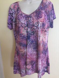 Women's Fashion Bug Size 14 / 16 W Blouse Short Sleeve Embelished Purple EUC…