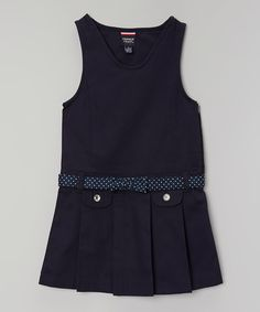 Take a look at this French Toast Navy Dot Belt Pleated Dress - Girls today!