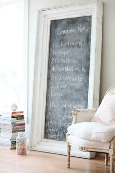 Dreamy Whites: Mantle Free For Now. and My Mom's Cinnamon Roll Recipe Ideas Prácticas, Gift Ideas, Framed Chalkboard, Blackboards, Home And Deco, My New Room, Shabby Chic Decor, Sweet Home, House Design