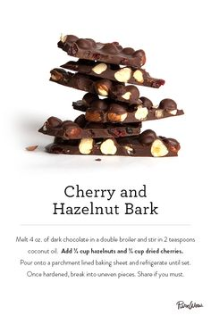 Cherry and Hazelnut Bark made with dark chocolate and coconut oil.