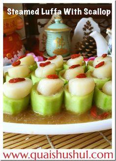 Steamed Scallops with Luffa  (干贝丝瓜) #guaishushu #kenneth_goh   #scallops