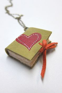 Mustard Leather Book Necklace with Red Heart by Nicopapergoods, $28.00