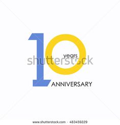 10 years anniversary, signs, symbols, which is yellow and blue with flat design…