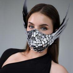 Muse Band, Silver Mask, Coloured Feathers, Acrylic Mirror, Fashion Face Mask, Disco Ball, Mask Design, Night Club, Masquerade