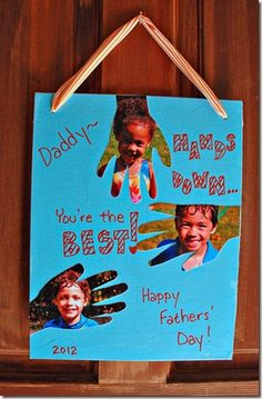 For Fathers' Day, I wanted to make gifts that were similar to the fingerprint trees I made the grandmothers for Mothers' Day, but more masculine. I had seen an idea on Pinterest with handprints cu…