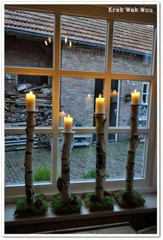 Krek Wak Wou: kaarsenstandaards van berkenstammen - birch - candles