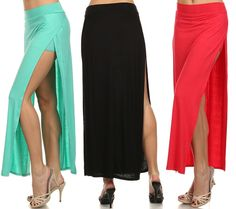 SEXY SOLID COLORS HIGH WAIST SIDE SLIT OPEN MAXI LONG SKIRT WITH INNER SHORT