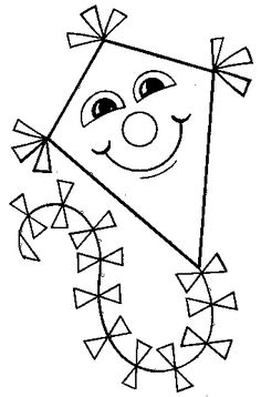 Smiley Kite coloring page