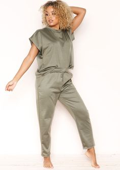 14f15c43 Our Sophie Khaki High Neck Boxy Loungewear Set features high neckline t- shirt with a boxy fit and matching joggers. Missy Empire