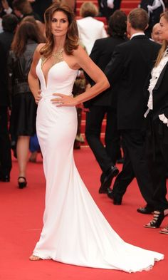 Cindy Crawford In A Plunging Roberto Cavalli Dress At The Cannes Film Festival 2013